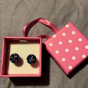Blue Pave Stud Earrings
